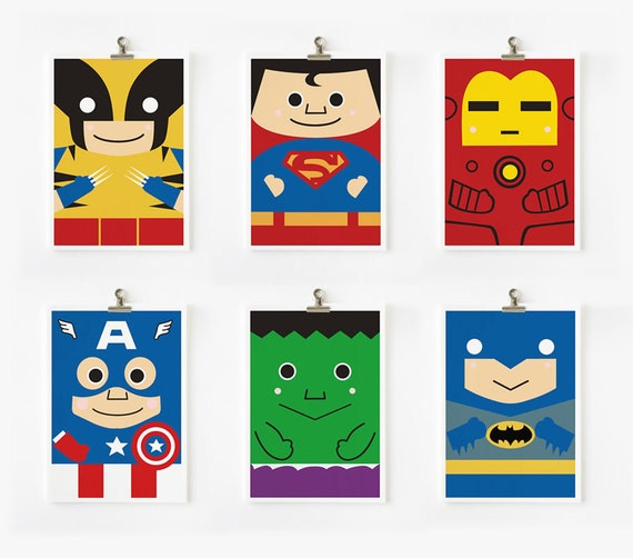Super hero art print 5 x 7 set of 6
