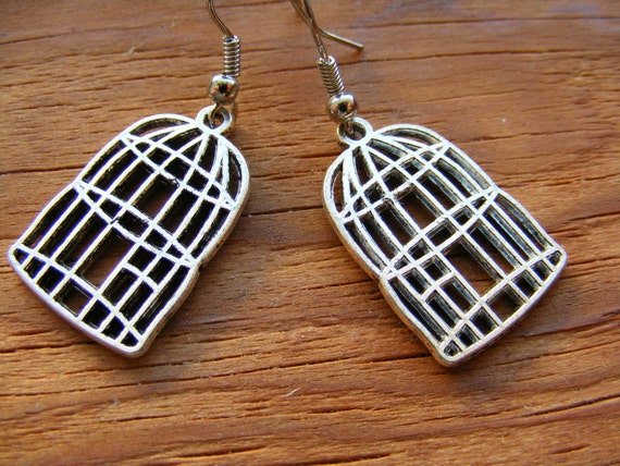 Earrings Silver or Bronze Bird Cages