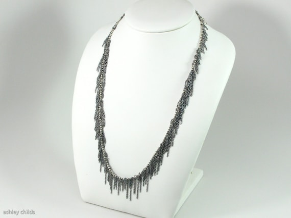 Oxidized Sterling, Simple Fringe Necklace, Sterling Silver, AC7781