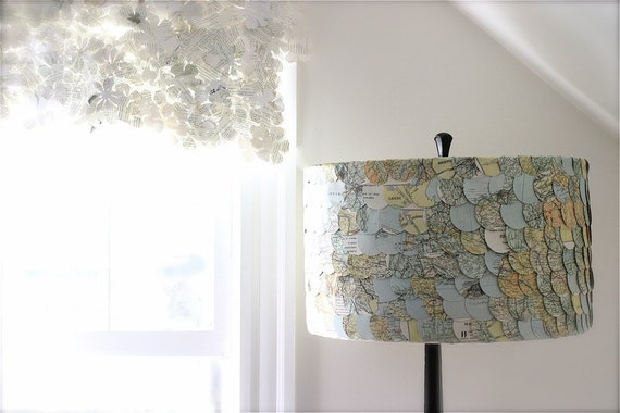 lampshade, paper cutouts, map, travel