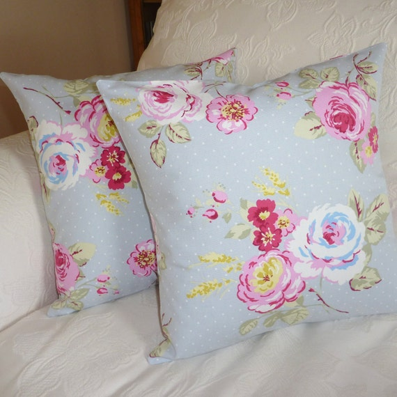 English Country Garden Pillows Cushions with roses in grey - one pair 16 x 16