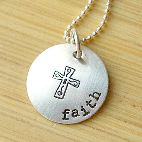 Sterling Silver Hand Stamped Domed Faith Necklace with Cross