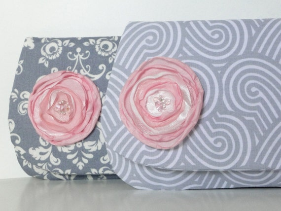 Free shipping, clutch bridesmaids purse gray white mix and match