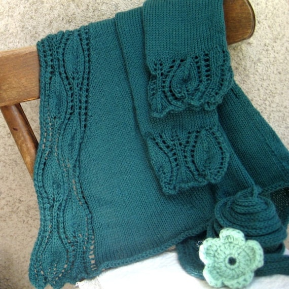 Custom Knit Cardigan Womans Sweater Bolero Shrug Vest Floral beats Mohair Darkseagreen/Green Knit Belt Size 8/10 M Handmade by Dimana