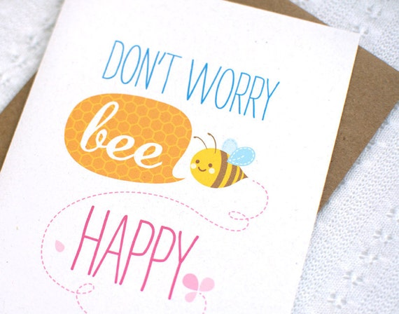Inspirational Card - Bee Happy, Honeycomb, Beehive, Cute