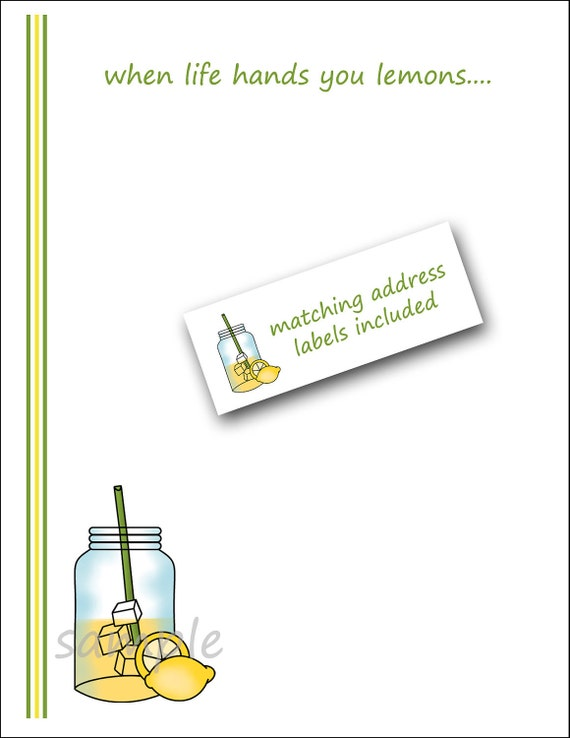 Lemonade Mason Jar Notes   /   sunny all occasion stationery    /   when life hands you lemons...  /  labels included