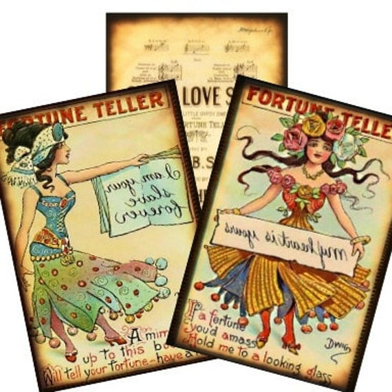 Vintage Gypsy Fortune Teller 2x3 Collage - witch hang tags greeting cards postcard ATC ACEO - U Print 300dpi jpg
