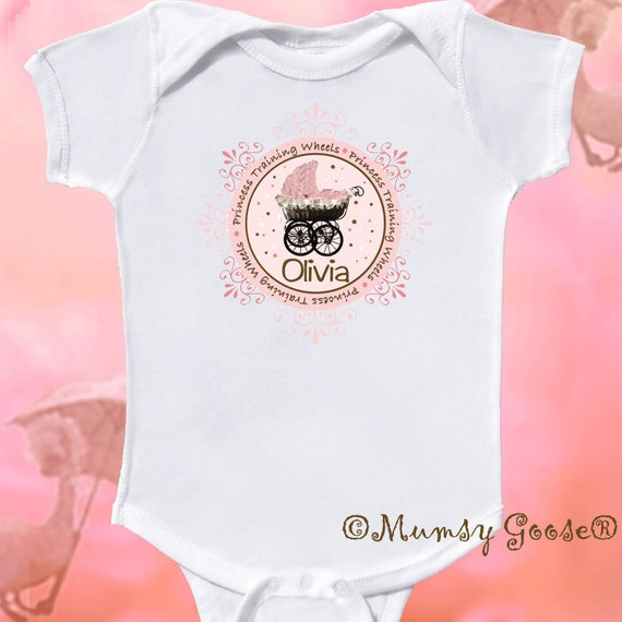 Princess Training Wheels Personalized Baby Girl Onesie by Mumsy Goose NB - 24M Fun for Baby Shower