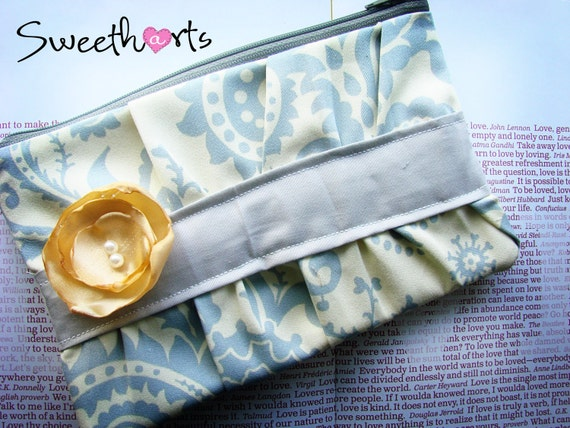Dreamy Ivory and Grey Dasmask Print Ruffle Clutch