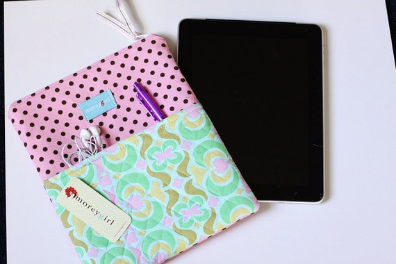 pink and aqua e-reader pouch