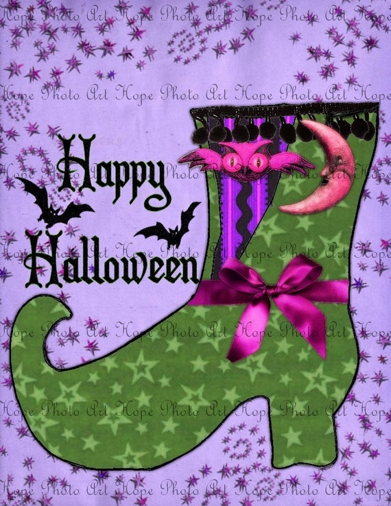 Happy Halloween  Witch Boot Collage - Image Transfer Burlap Feed Sacks Canvas Pillows Tea Towels greeting - U Print 300dpi jpg