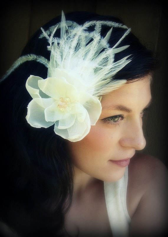 Bridal Feather Fascinator -Rose Love
