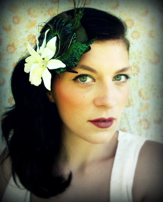 Feather Fascinator- Iridescent Bloom