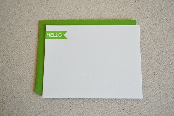 SALE - Hello - set of 5 letterpress flat cards