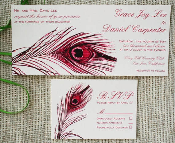 Elegant Peacock Feather Wedding Invitation Jewel Tones Sample