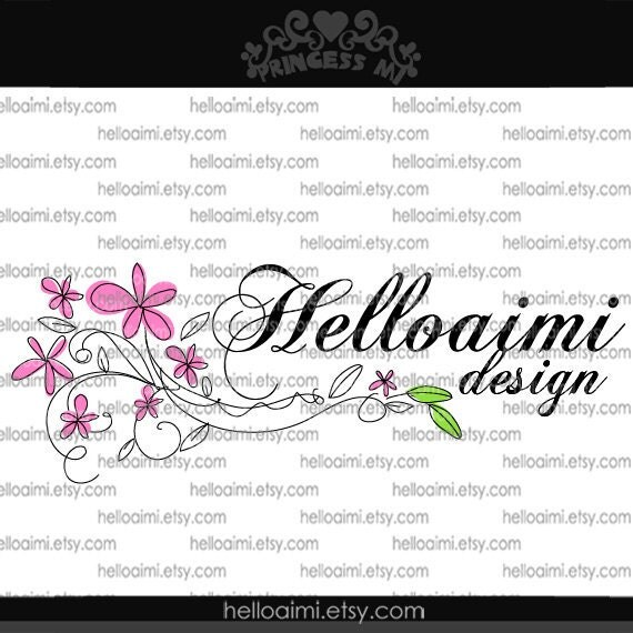 Custom Premade Logo Design sketch hand drawn flowers cherry blossom logo