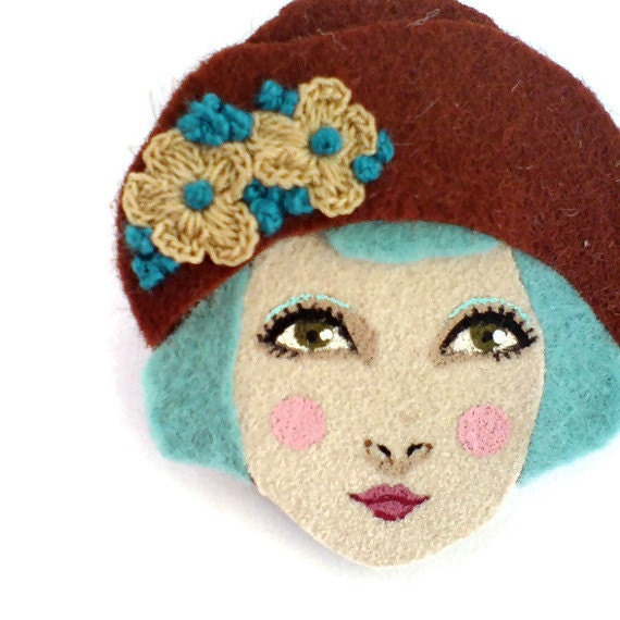 Felt brooch - Louise, Girl in a cloche hat, auburn, light blue, Autumn, woman face