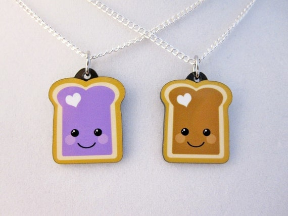Peanut Butter and Jelly Best Friend Necklace Set