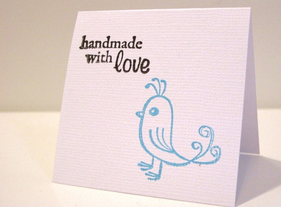 Handmade with Love Birdie Quail Stamp Thank You Shop Supplies and Mini Cards (10)