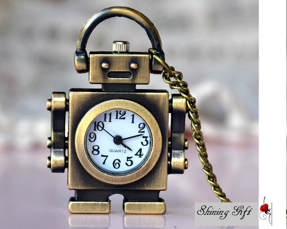 Vintage style Robot Pocket Watch Necklace