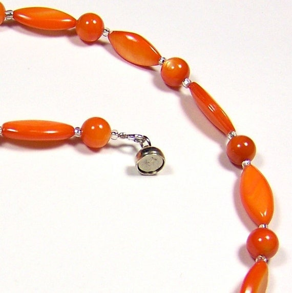 "Necklace - Bright Orange Shell 17.5""/44.5cm"