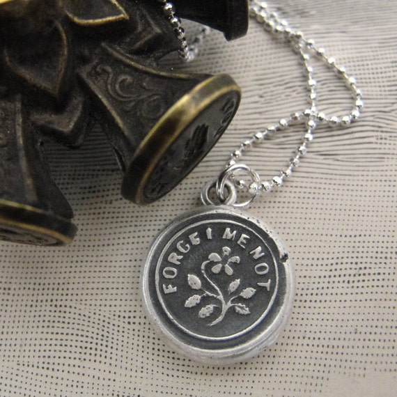 "Wax Seal ""Forget Me Not"" charm necklace - flower wax seal jewelry pendant in fine silver"
