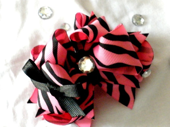 Girls Boutique Hair Bow Layered - Pink Zebra Pretty Preppy Bow - Zebra, Pink, Bling, Black