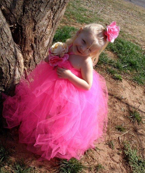 Pink Blooming Halter Tutu Dress- Spring, Wedding, Fairy, Birthday, Roses