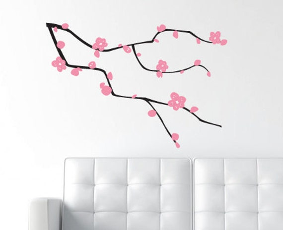LARGE - 2 Color - Oriental Branches and Leaves - Matte Vinyl Wall Decal