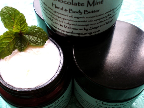 Chocolate Mint Hand and Body Butter - All Natural, with Organic Cocoa Butter