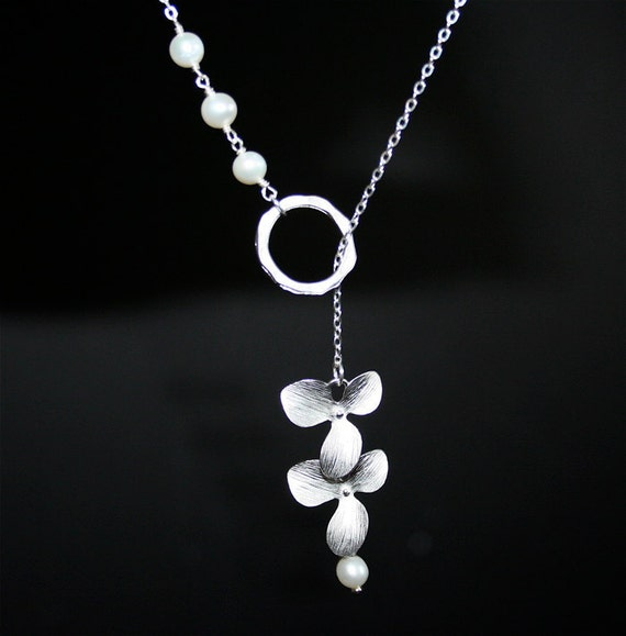 Silver  Orchid Necklace  Circle with Pearls Lariat by smilesophie from etsy.com