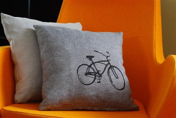 Vintage Bicycle Print Pillow Case - On Sale