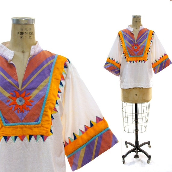 Mexican Embroidered Cotton Peasant Blouse with Applique Sun