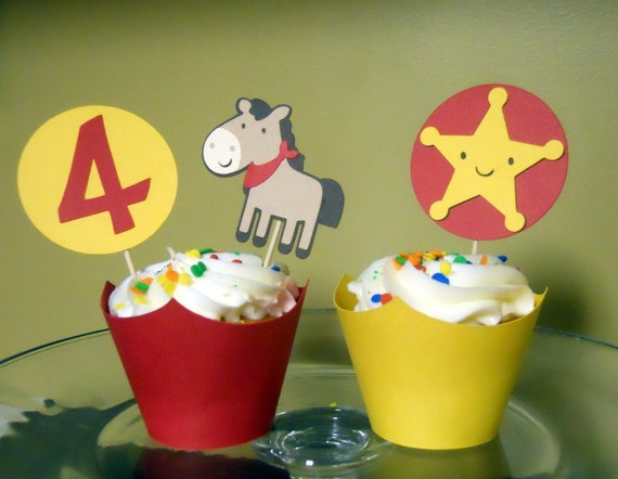 Western themed horse & badge birthday cupcake toppers and wrappers - 12 sets