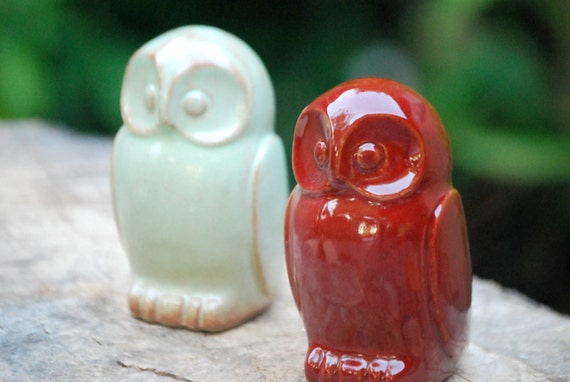 ceramic Owl rustic home decor in garnet red handmade pottery