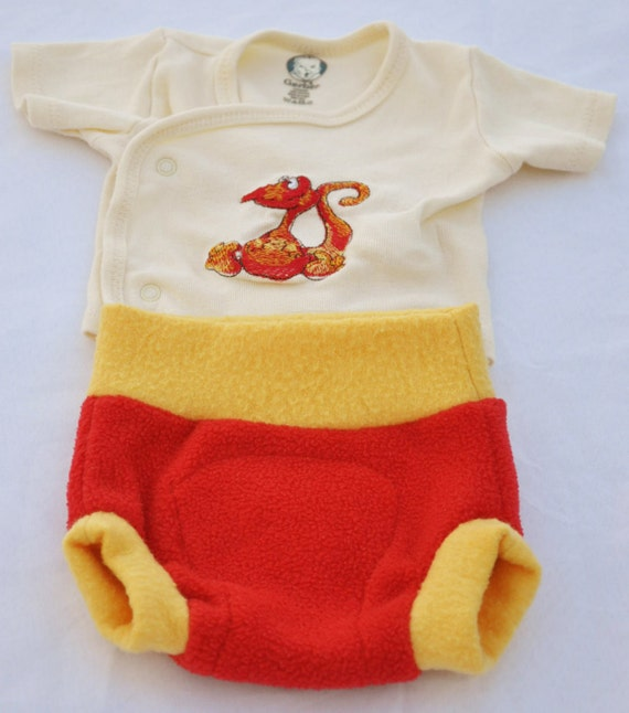 Fleece Soaker Diaper Cover and Embroidered T-shirt Set