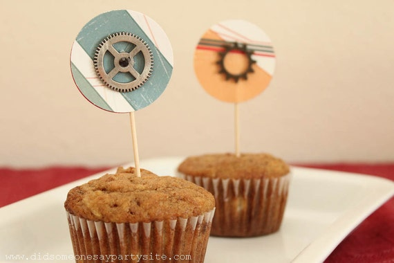 Gears and Sprockets Cupcake Toppers - FREE SHIPPING