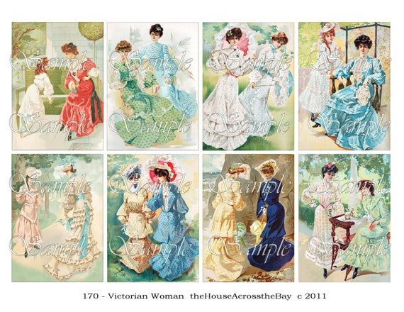 Victorian Women ATC Digital Collage ACEO Backgrounds Vintage Digital Collage 2.5 x 3.5 Vintage Victorian Images Tags Card  170