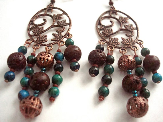 Autumn Copper Leaf Nature Inspired Chandelier Earrings