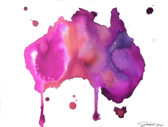 Watercolor Australia Map - Australian Dreams No. 2 print