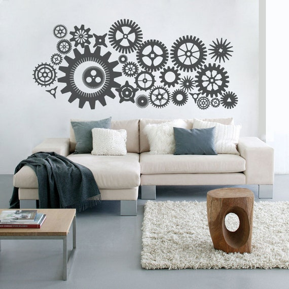 Steampunk Gears and Cogs Wall Decal Vinyl Art Sticker