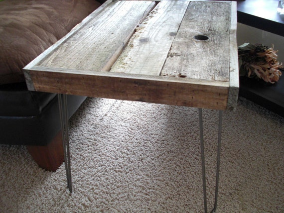 Modern Industrial Reclaimed Upcycle Rustic Wood Coffee Table - Side Table with Vintage Eames Style Steel Hairpin Legs