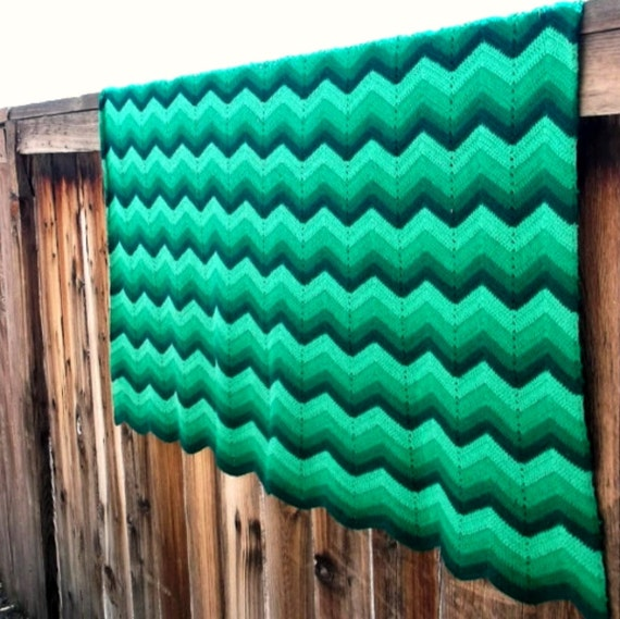 Vintage Crochet Blanket. Green Mix Chevron