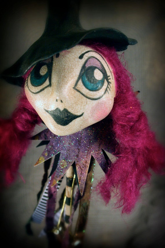 OOAK Witch Jester Stick
