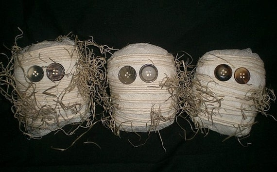 Primitive Halloween Mummy Bowl Filler Ornies Tucks Shelf Sitters