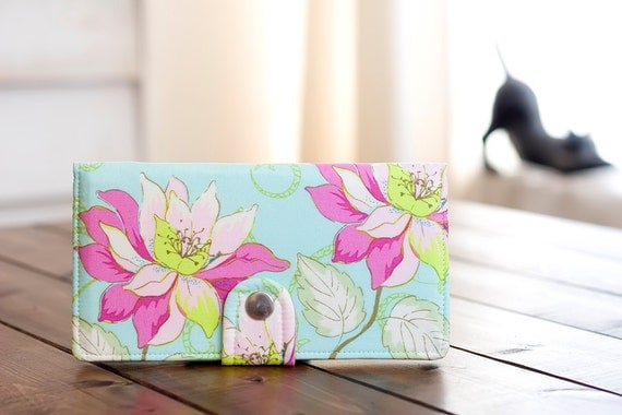BiFold Clutch Wallet - Handmade Wallet - Vegan Wallet / Azalea Flowers in Aqua -- Ready to Ship -- Last One