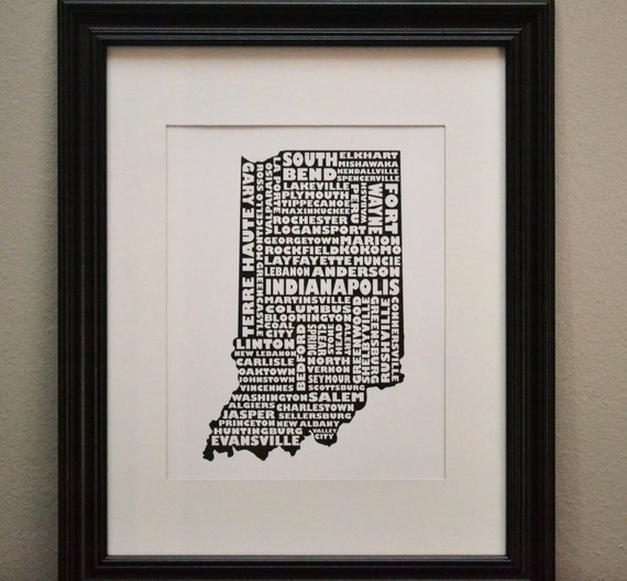 Cities of INDIANA Collage Print (OR Customize and Choose Your Own State)