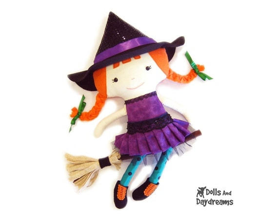 Witch Cloth Doll pdf Sewing Pattern Cute Halloween Softie skirt boots broomstick included