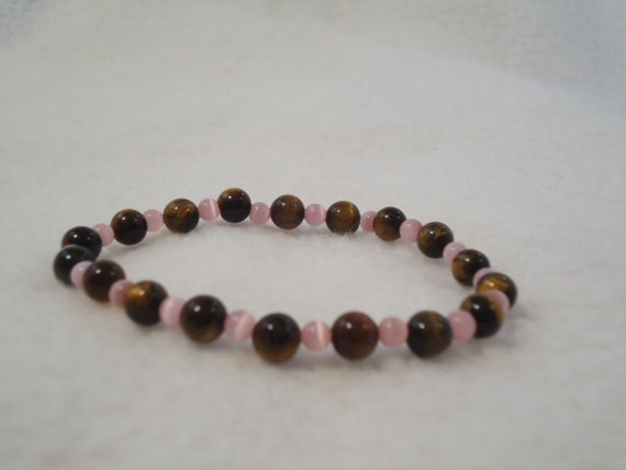 Pink and Brown Stretchy Beaded Bracelet