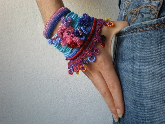 Alcea Biennis  ... Freeform Crochet Cuff - Flowers -  Blue Indigo Pink Purple Red